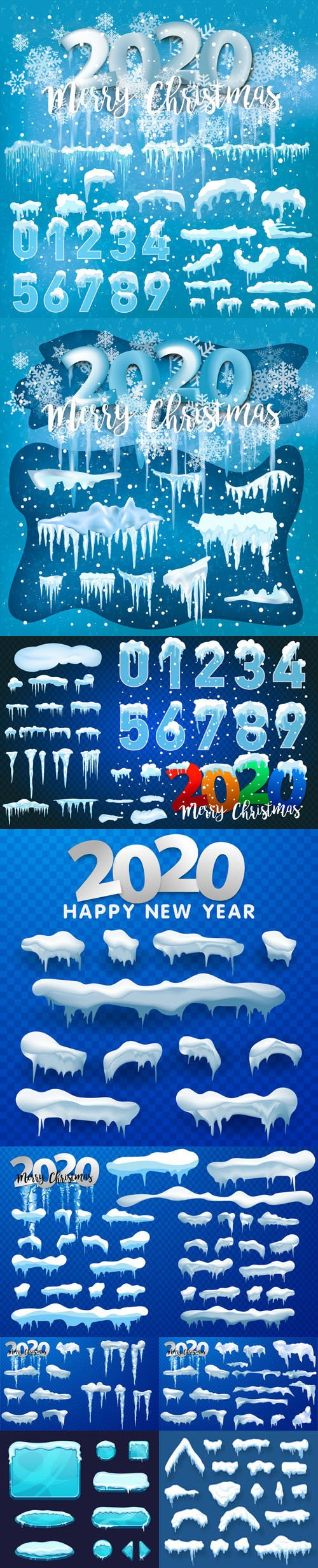 New Year 2020 Ice & Snow Vector Templates