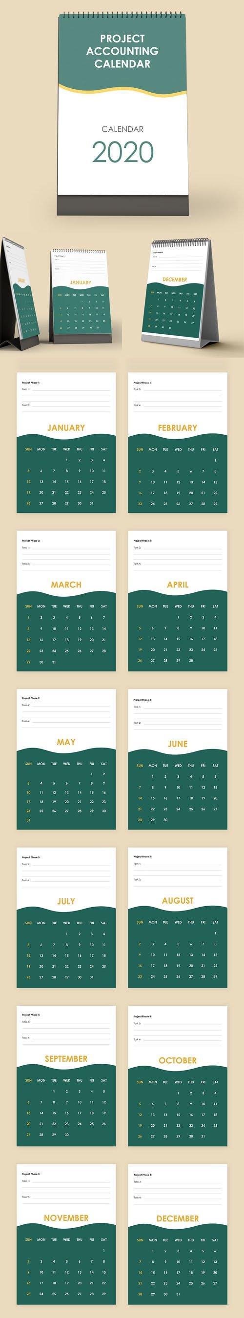 Project Accounting Desk Calendar (Word/Google Docs) Templates