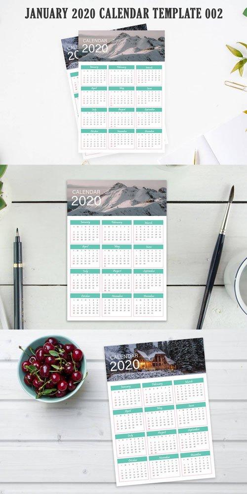 2020 Calendar Printable (PSD/PDF) Template