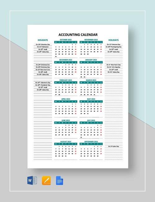 Editable Accounting Calendar (Word/Google Docs) Templates