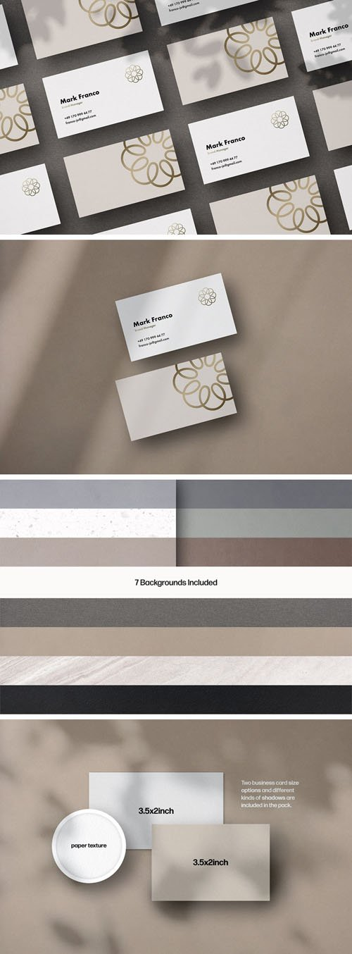 Business Card PSD Mockups + Shadow Overlays & Textures