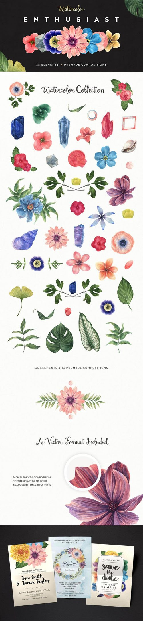 Watercolor Enthusiast Vector Graphic Pack - Premade Compositions
