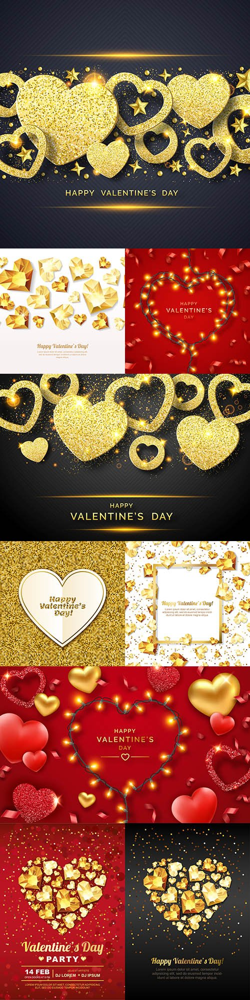 Happy Valentine's Day romantic decorative illustrations 25