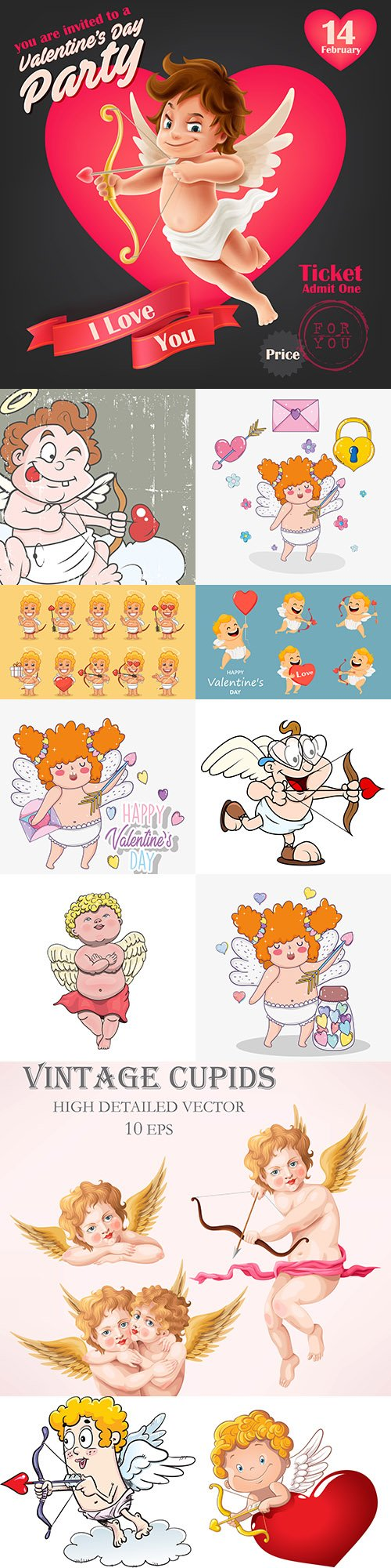 St. Valentine's day romantic cartoon cupid collection 3