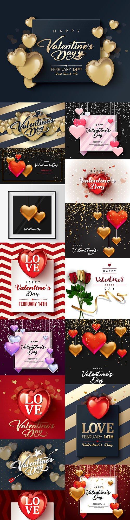 Happy Valentine's Day romantic decorative illustrations 24