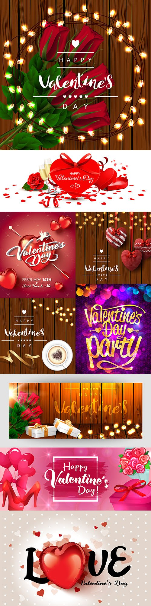 Happy Valentine's Day romantic decorative illustrations 27