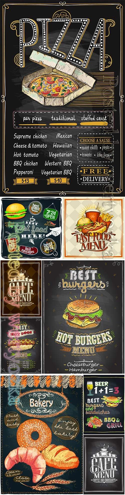 Cafe menu card design, fast food, pizza