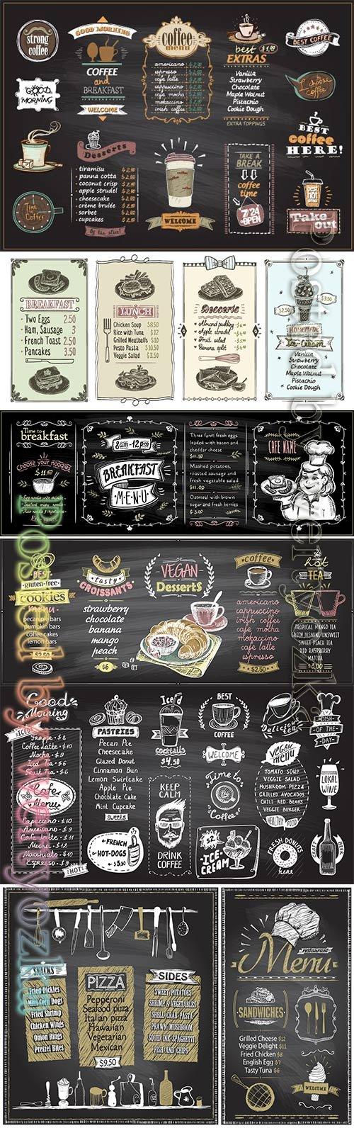 Menu list designs set for cafe or restaurant