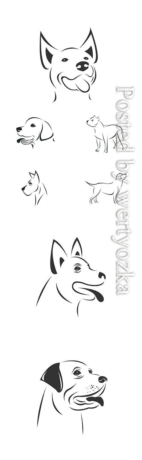 Vector image of an Dog black and white, animal logo