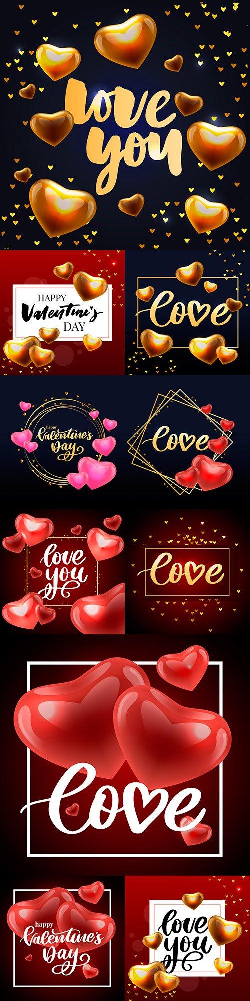 Happy Valentine's Day romantic decorative illustrations 32