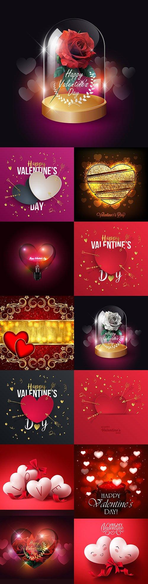 Happy Valentine's Day romantic decorative illustrations 28