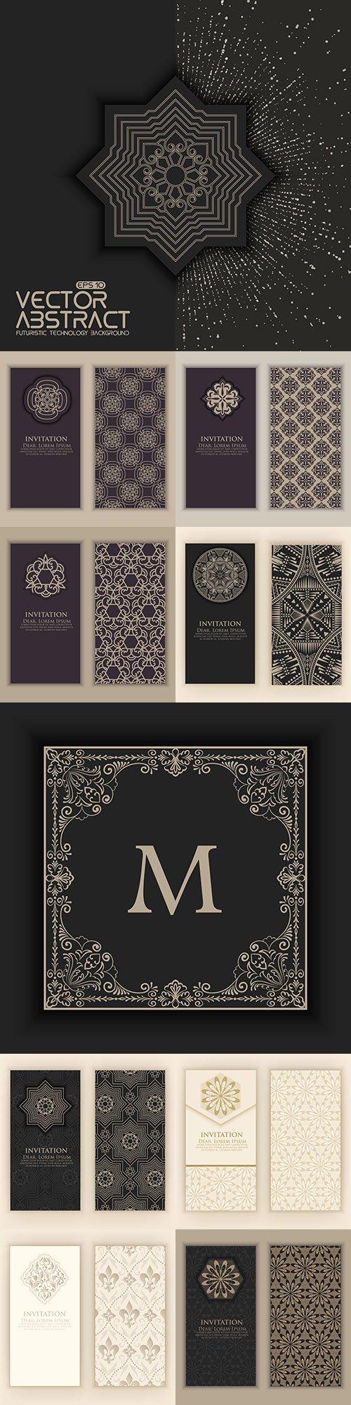 Invitation elements decorative ethnic Arabesque