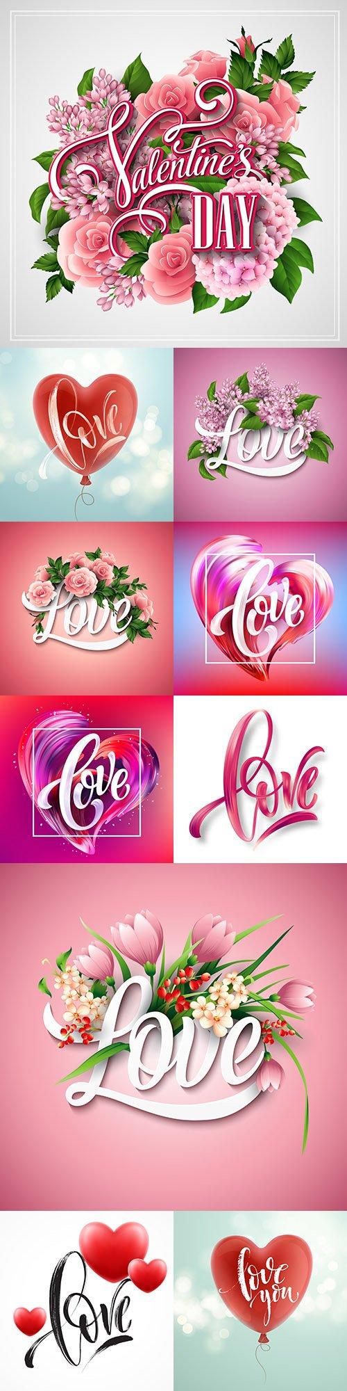 Happy Valentine's Day romantic decorative illustrations 30
