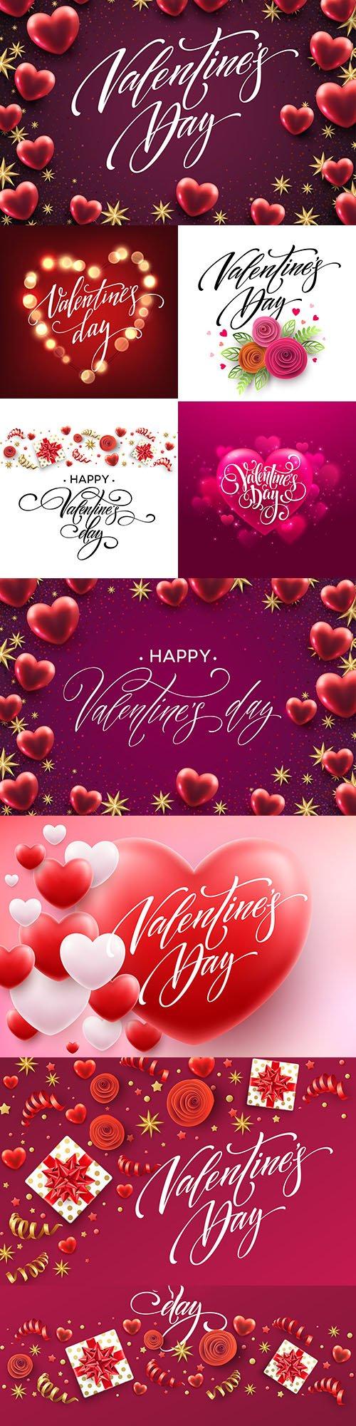 Happy Valentine's Day romantic decorative illustrations 29