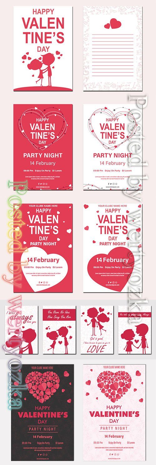 Valentine's Day party night poster tempate with hearts frame