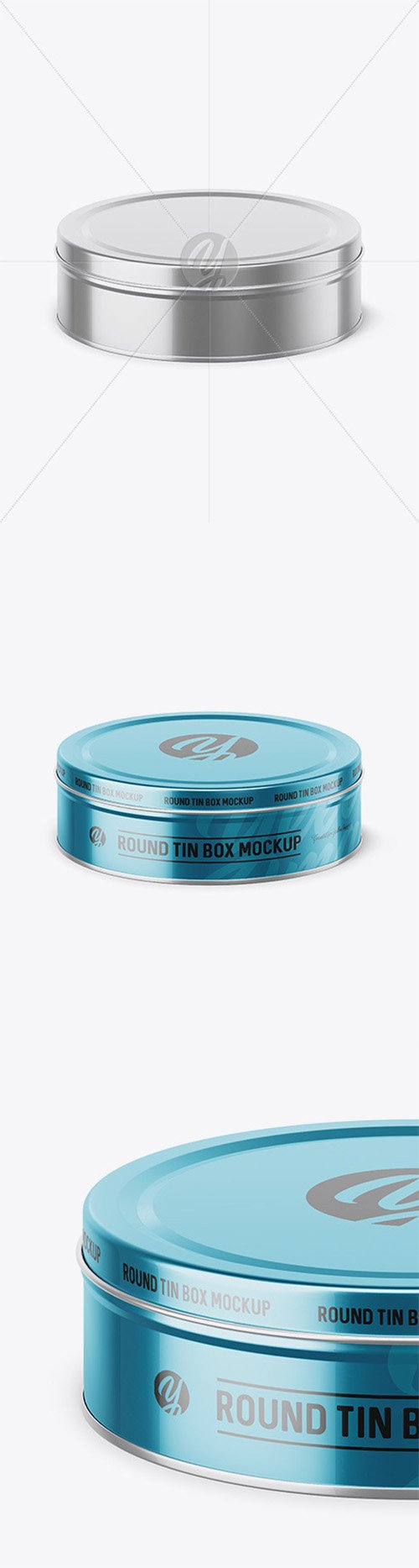 Metallic Round Tin Box Mockup (High-Angle Shot) 52444 TIF