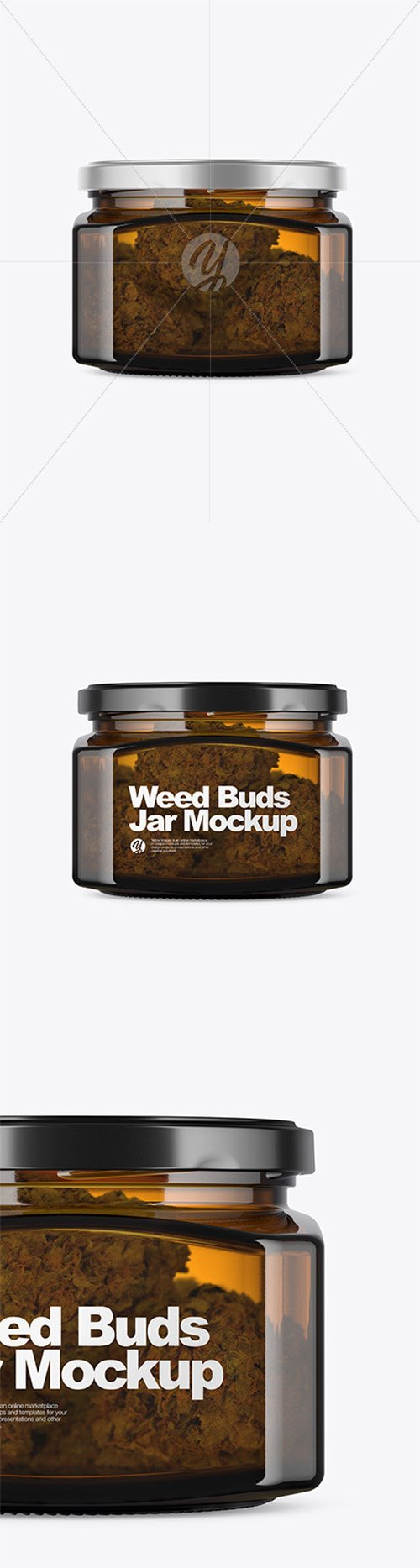 Square Amber Glass Jar with Weed Buds Mockup 52528 TIF