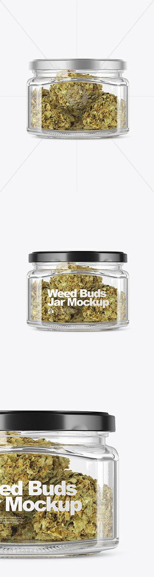 Square Glass Jar with Weed Buds Mockup 52415 TIF
