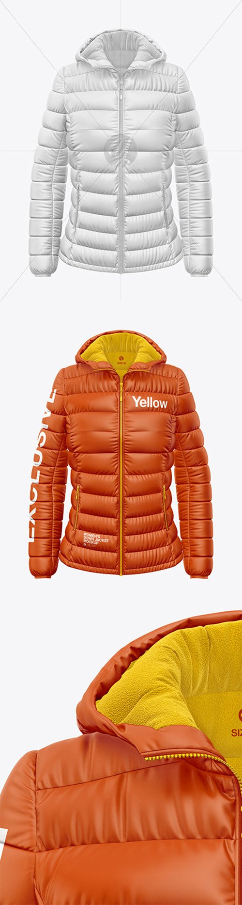 Matte Women's Down Jacket w/Hood Mockup - Front View 52376