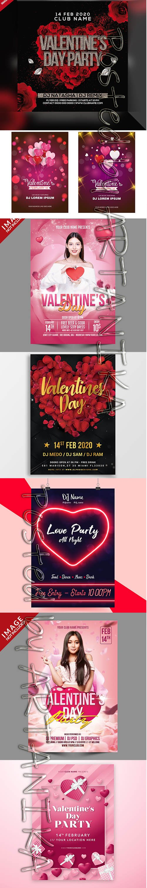 Valentines Party Flyer Psd Template Set Vol 2