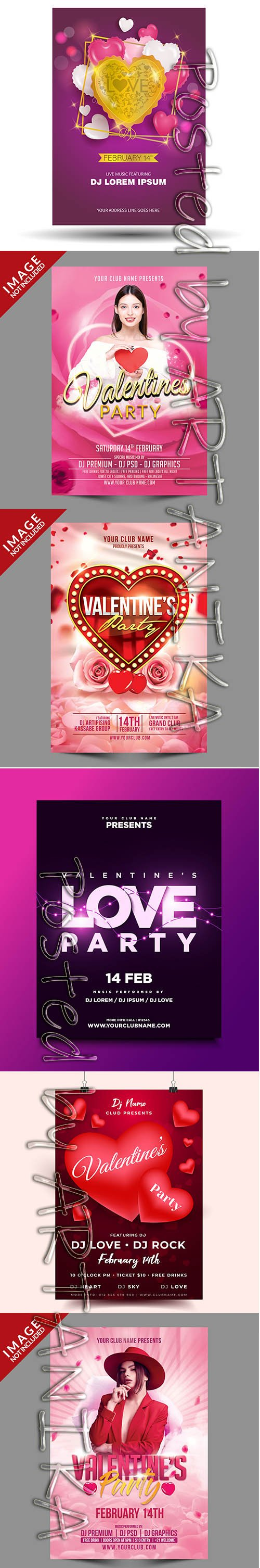 Valentines Party Flyer Psd Template Set