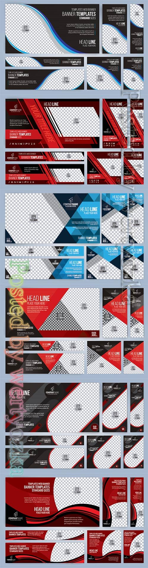 Web banners templates, standard sizes with space for photo