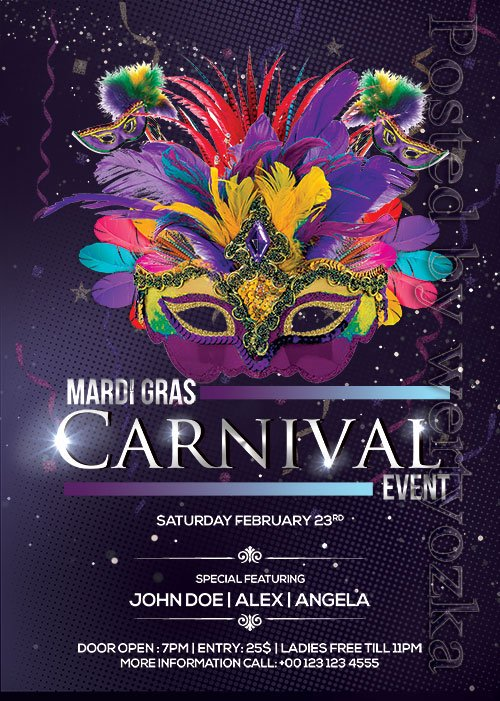 Mardi Gras Carnival - Premium flyer psd template