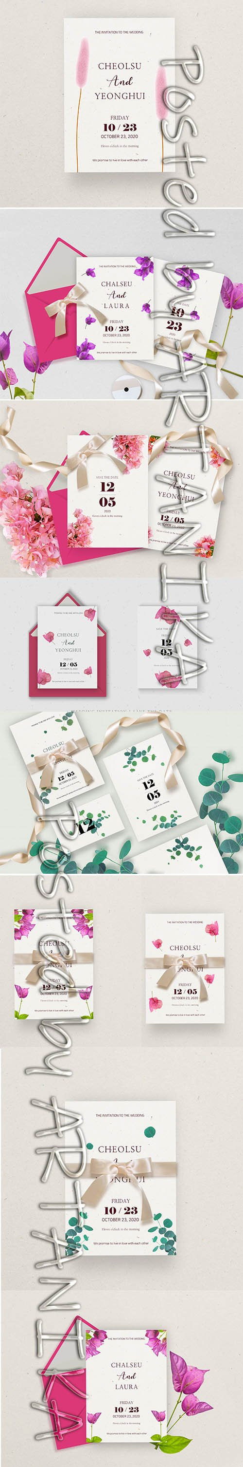 Set of Weeding Invitation Decorated with Flowers