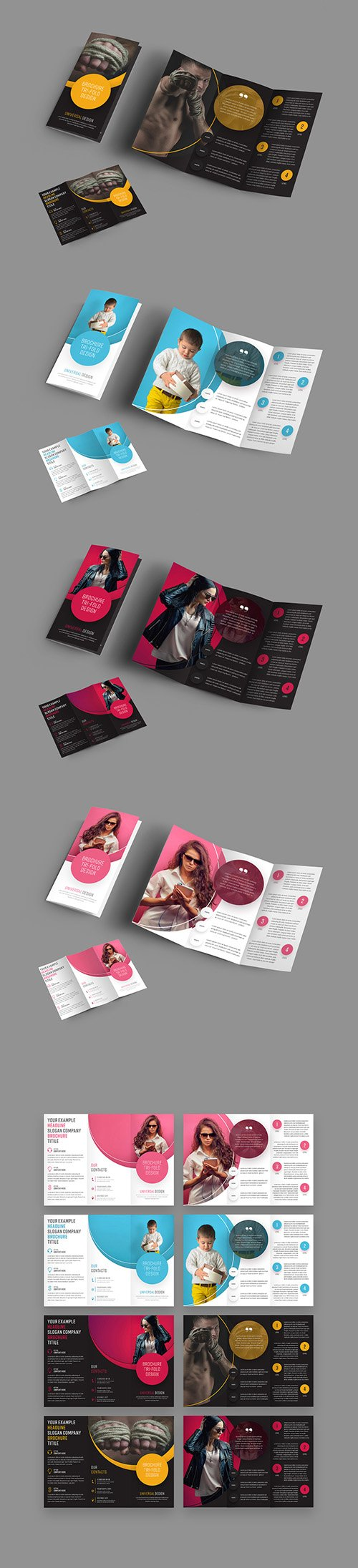 4 Trifold Brochures with Circular Elements 198253900 PSDT