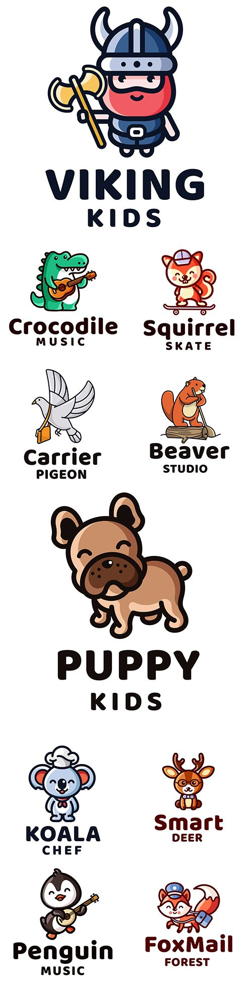 Animal linear design logo company template 42