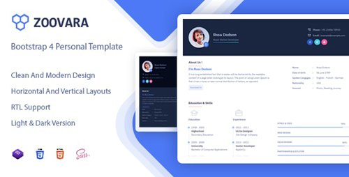 ThemeForest - Zoovara v1.0 - Personal Resume / CV Template - 24077428