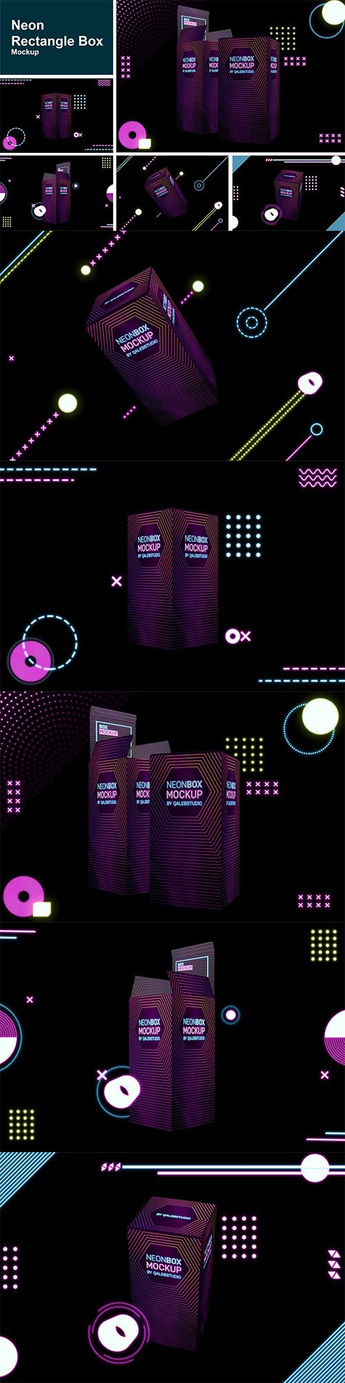 Neon Rectangle Box Mockup