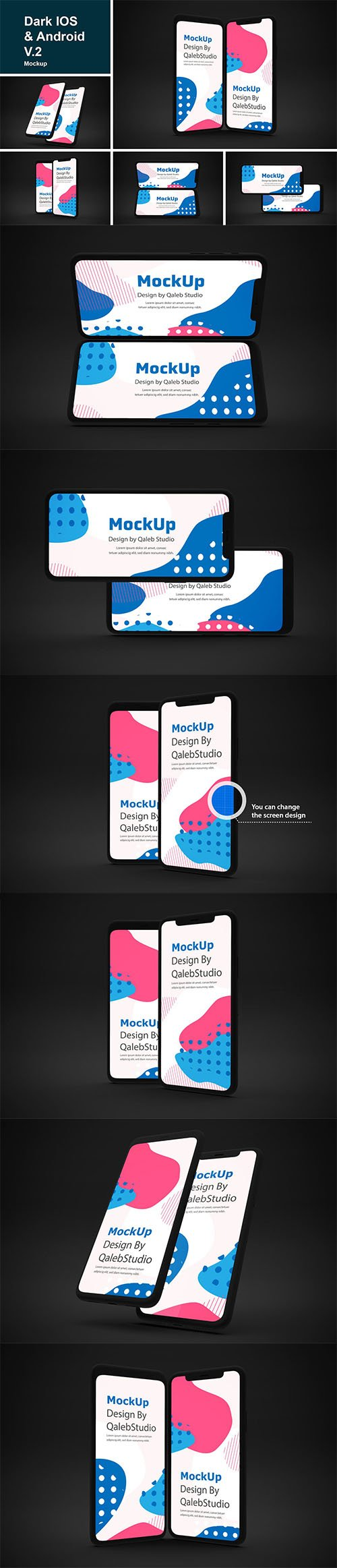 Dark IOS & Android Mockup V.2