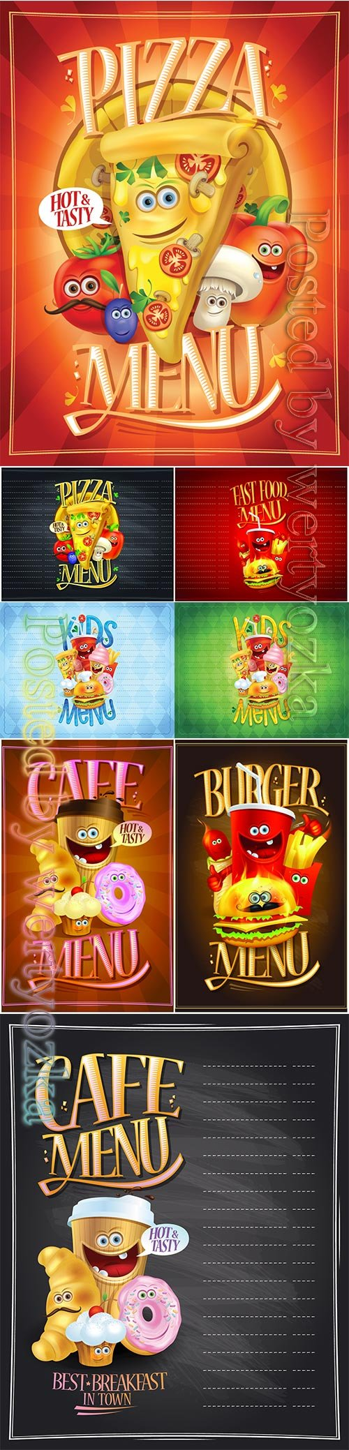 Kids menu list design concept with hot dog, burger, french fries, pizza, donut, ice cream, muffin and drink
