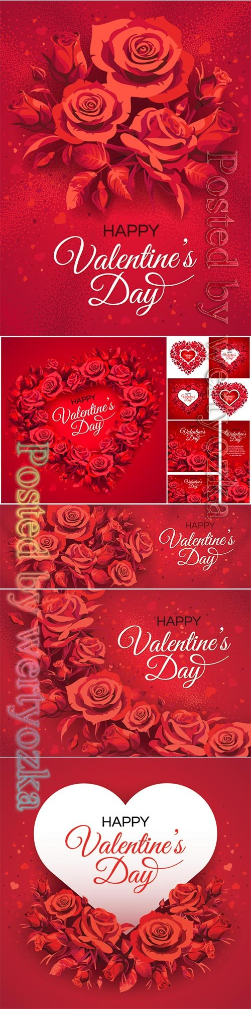 Valentine's Day greeting card templates with red roses