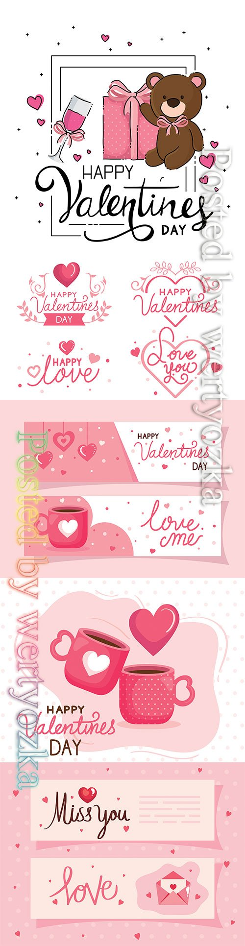 Vector cards of happy valentines day