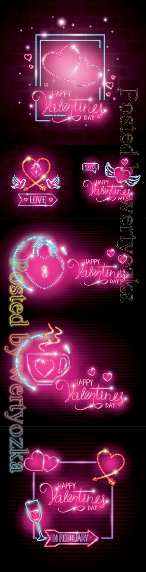 Happy valentines day with heart and wings of neon lights vector illustration design