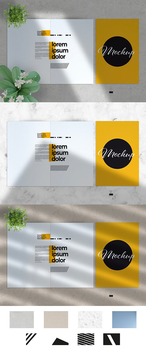 Closed and Open Brochure with Paper and Shadows Mockup 282711092 PSDT