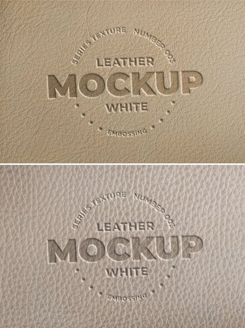 Embossed White Leather Logo Mockups 289573646 PSDT