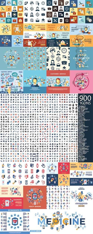 Digital vector icons set
