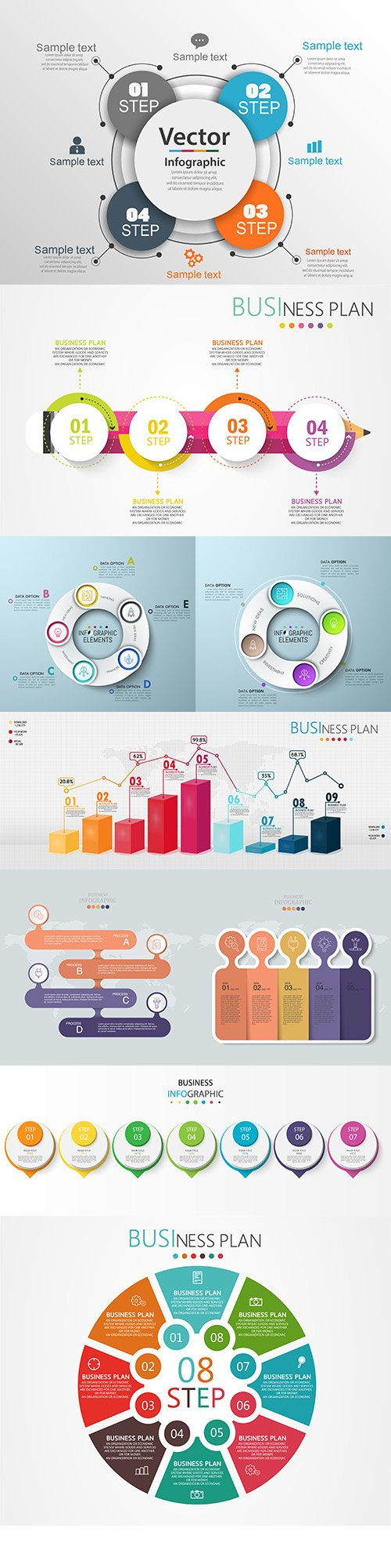 Business infographics options elements collection 128
