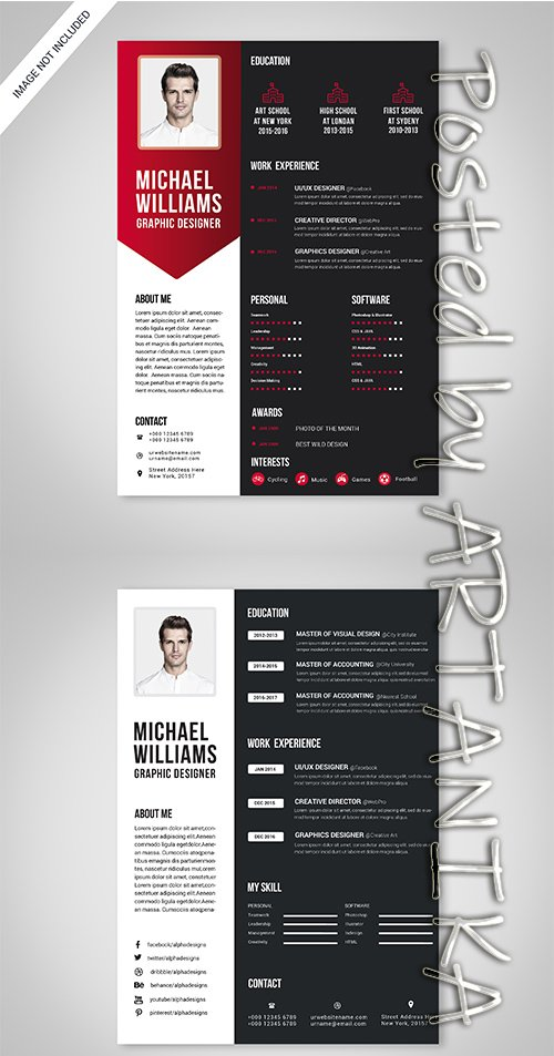 Black, White and Red Resume Template