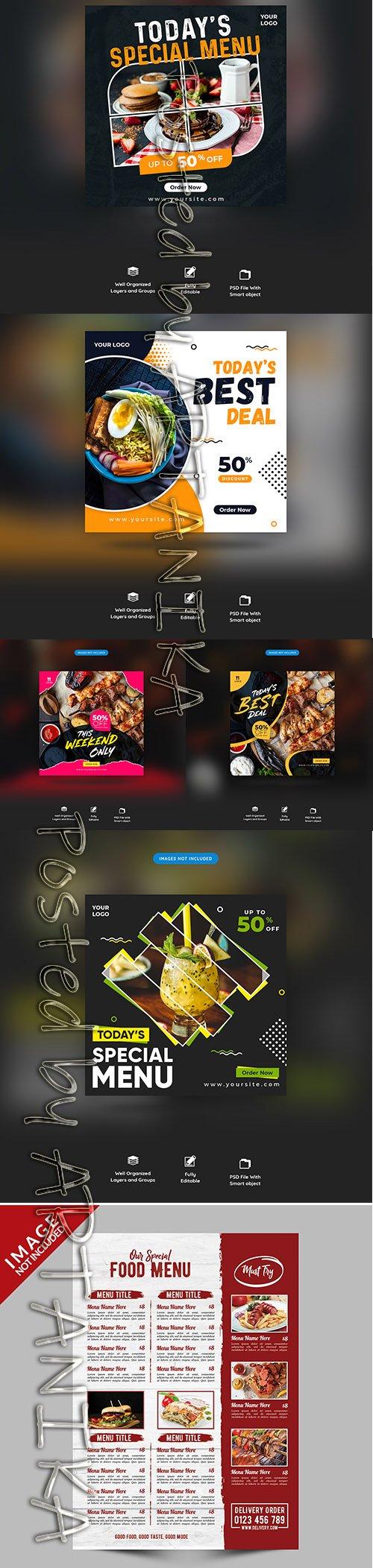 Restaurant Food Menu Social Media Post and Menu Template