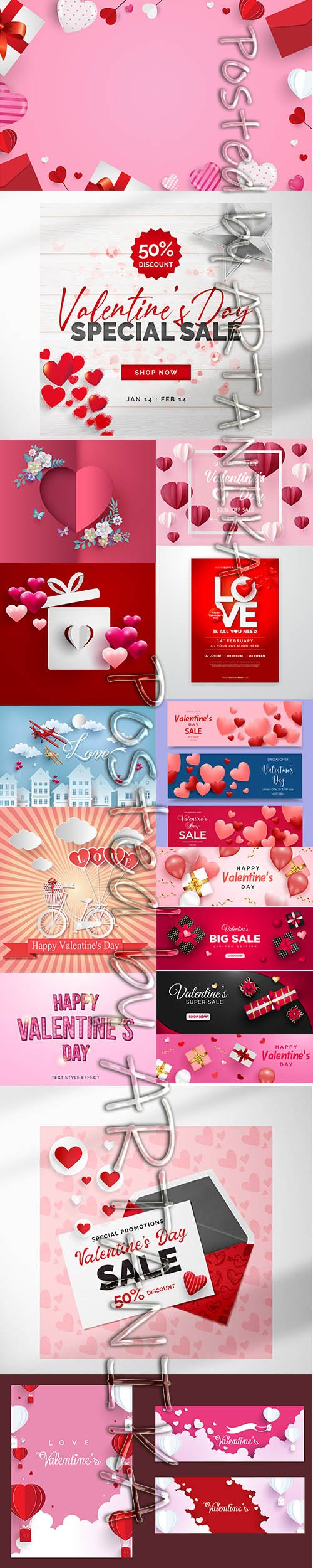 Big Set of Beautiful Valentines Day Illustrations and Cover Template