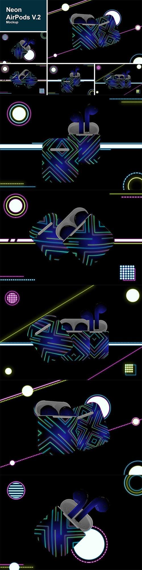 Neon Airpods mockup V.2