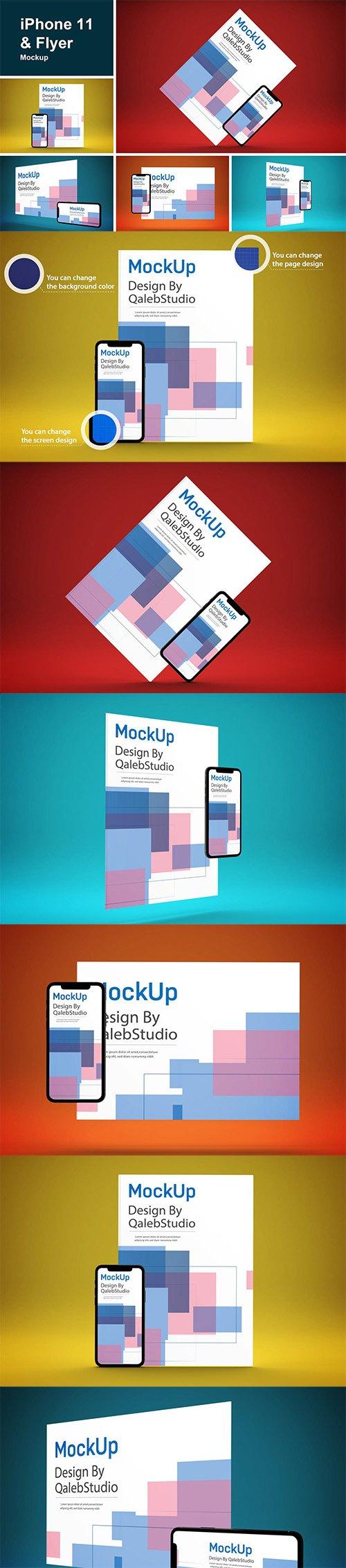 iPhone 11 & Flyer Mockup