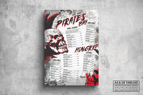 Pirates Bay Poster Food Menu - A3 & US Tabloid