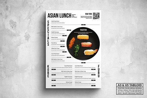 Minimal Japanese Food Menu - A3 & US Tabloid