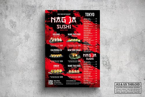 Japanese Poster Food Menu - A3 & US Tabloid