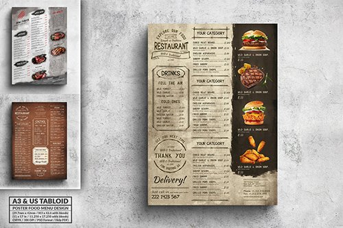 Rustic & Vintage Menu Bundle - A3 & US Tabloid